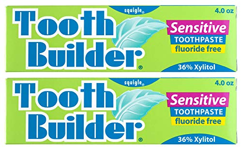 Squigle Tooth Builder SLS Free Toothpaste (Stops Tooth Sensitivity) Prevents Canker Sores, Cavities, Perioral Dermatitis, Bad Breath, Chapped Lips - 2 Pack