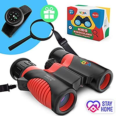 Real Binoculars for Kids high Resolution 8x21 with New Wide and Adjustable Neck Strap - Kids Compass Bracelet and Magnifier - Great Gift for Girls and Boys 3-14 Years Old