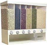 DZCGTP Vaso de Agua Dispensador de Cereales Dispensador de Cereales, montado en la Pared, para Alimentos Secos, Cubo de arroz, Compartimentos múltiples, dosificación automática, STO