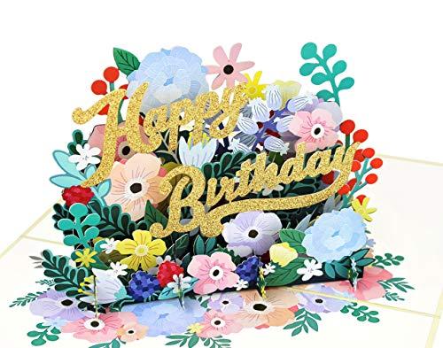 MOKIO® Pop-Up Geburtstagskarte – Happy Birthday Blumen – 3D Glückwunschkarte zum Geburtstag, handgefertigte Gutschein Klappkarte mit Umschlag