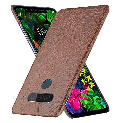 HualuBro Handyhülle für LG G8S ThinQ Hülle, Premium PU Leder Ultra Slim Stoßfest Schutzhülle Lederhülle Back Bumper Hülle Cover für LG G8S ThinQ Tasche (Braun)