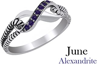 Round Cut Simulated Alexandrite Love Infinity Knot Ring in 14K Gold Over Sterling Silver