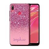 Stuff4 Personnalisé Coque pour Huawei Y7/Prime/Pro (2019) Effet Paillettes Coutume Rose Désign...