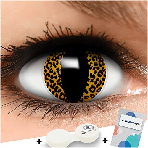 Funzera® Lenti a contatto colorate Leopard con portalenti - non corrette, in confezione da due: comode da indossare e ideali per Halloween o Carnevale