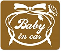imoninn BABY in car ステッカー 【マグネットタイプ】 No.29 お花リボン (ゴールドメタリック)