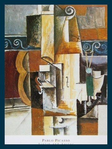 Bild mit Rahmen Pablo Picasso - Violine und Gitarre - Holz blau, 61.0 x 81.0cm - Premiumqualität - Klassische Moderne, Kubismus, Stillleben, Musikinstrumente, Geige, Gitaarre, Ornamente, g.. - MADE IN GERMANY - ART-GALERIE-SHOPde