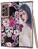 Croazhi Note 20 Ultra Hülle Kompatibel mit Samsung Galaxy Note 20 Ultra 5G Handyhülle Schutzhülle Transparent Silikon Rose Blumen Skelett Halloween Original Hülle Cover Galaxy Note20 Ultra Handy
