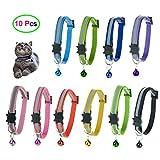 D-buy 10 Pcs Cat Collars with Bell, Breakaway Cat Collar with Bell, Reflective Cat Collar, 10 Colors Nylon Cat Collar