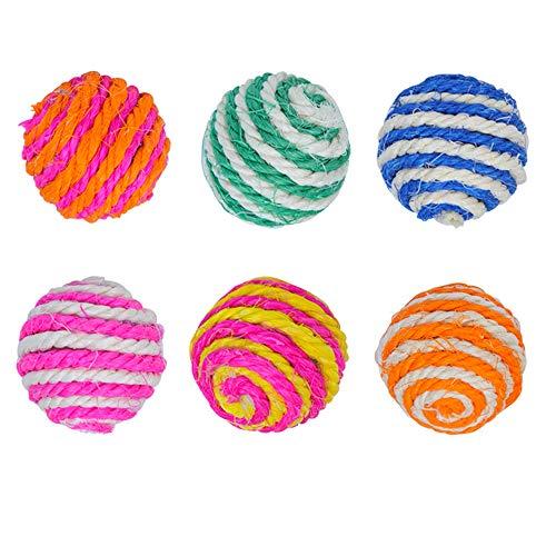 N\A 6Pcs Random Color Cat Play Chew Toy Cat Elastic Ball Pet Chew Toys Ball...