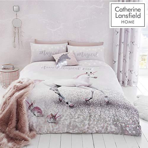 """Catherine Lansfield """"Enchanted Unicorn"""" pflegeleichter Bettbezug, Rose, Einzelbett"""