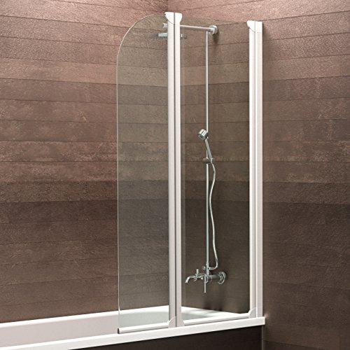 Schulte Duschwand Köln, 114x140 cm, 3 mm Sicherheitsglas klar, alpin-weiß, Duschabtrennung für Badewanne