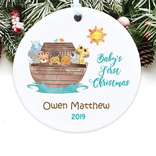 Toll2452 Adorno de Navidad para bebé con el arca de Noé, adorno de Navidad personalizado para bebé 1ª Navidad