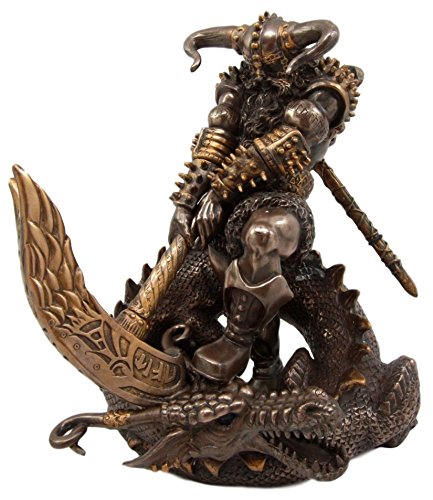 Ebros Gift Mighty Thor at Ragnarok Statue Norse Mythology God of Lightning Slaying Midgard Dragon with Mjolnir Hammer Figurine Donar Son of Odin Asgard Ruler 7.75' H