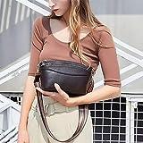 6025 Bolsos de Hombro Informal Litchi Textura Suave Cara Hombro del Cuero Genuino Forma de Concha Bolsa de Marca Mujer (Negro) SHIYUE (Color : Coffee)