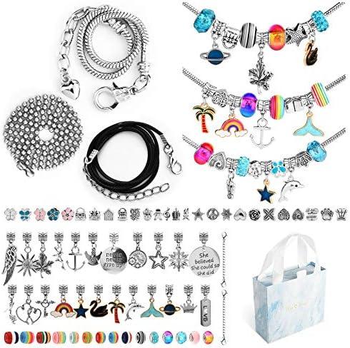 Charm Bracelet Making Kit 96pcs Girls Bracelet Making Kit with Beads Bracelet Necklace and Gift product image