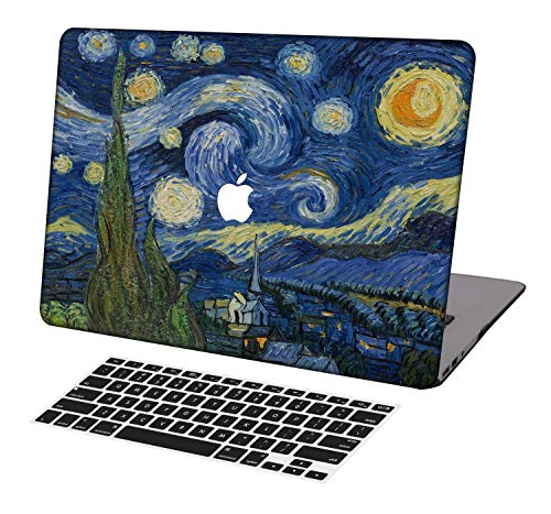 KSK KAISHEK Laptop Case for 2018-2020 Release Newest MacBook Air 13 Inch with Retina Touch Bar Model:A1932/A2179/A2337,Plastic Ultra Slim Light Hard Shell Keyboard Cover,Van Gogh Starry Night