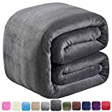 SOFTCARE Soft Queen Size Blanket for Fall Winter Spring All Season 350GSM Thicken Warm Fuzzy Microplush Lightweight Thermal Fleece Summer Autumn Blankets for Couch Bed Sofa Dark Gray 90' 90'