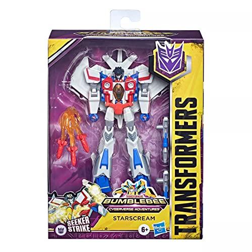 Transformers Bumblebee Cyberverse Adventures Spielzeug Deluxe-Klasse Starscream Action-Figur, Seeker Strike Action Attacke, 12,5 cm