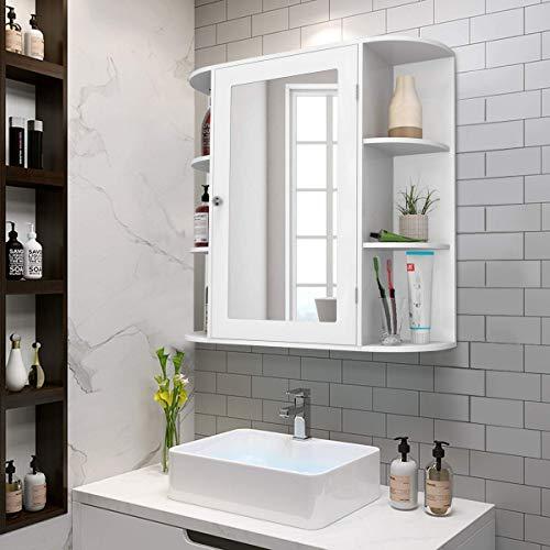 Casart Wall Mounted Bathroom Cabinet with Mirror, Single Door Medicine Cabinet with 4-Tier Inner Shelf