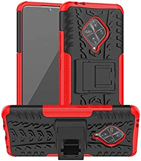Soezit Shockproof Kickstand Back Case Cover for Vivo S1 Pro - Red