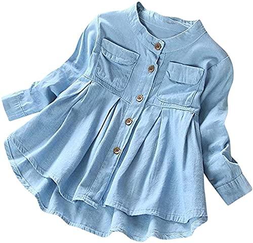 Bebé Niñas Niño Botón Fruncido Manga Larga Bolsillo Camiseta Tops Ropa Niños Otoño Invierno Moda Blusa, Azul / Patchwork, 2 Años