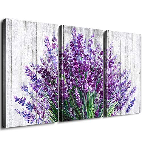 Rustic Home Decor Lavender Flowers Wall Art Purple Floral Picture Painting Artwork Vintage Wood Background Canvas Prints Modern Still Life Photo Decoration Living Room Bathroom 12x16 Inch 3Panels