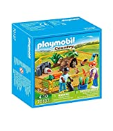PLAYMOBIL Country Farm Animal Enclosure with cute guinea pigs, rabbits, two child figures, an outdoor enclosure, food for the small animals and other accessories Includes six adjustable fence elements, tree trunk shelter for animals, water dispenser ...