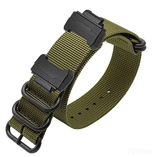 YOOSIDE Armband für Casio G-Shock, Gewebtes Nylon Uhrenarmbänder mit Edelstahlschnalle Ersatzarmband für Casio G-Shock GW-DW5600/DW-6900,GW-M5610/GW-5000 5035 (Grün)