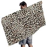 Perstonnoli Toalla de playa de microfibra con diseño de leopardo, ligera, para playa, picnic, playa, yoga, etc. 150 x 75 cm, color blanco