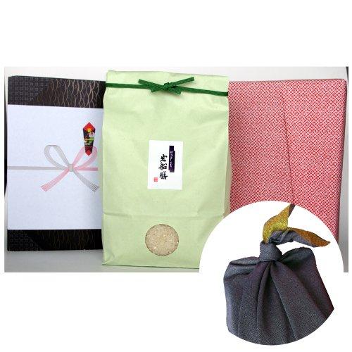 新潟県産コシヒカリ (有機肥料・米袋:緑・包装紙:赤・風呂敷:青)3キロ