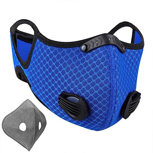 NUÜR - Mascarilla con doble filtro de aire, pinza para la nariz de plástico blando, y tira para proteger. Lavable y duradera. Para hacer ciclismo, correr, etc.