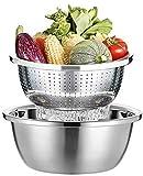 Nudelsieb, Sieb Edelstahl und Salatschüssel, küchensieb, Salatschleuder Edelstahl, Seiher, Rührschüssel, Schüsseln Für Die Küche, Stapelbares Schüsselset