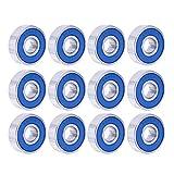 Aibada 24 PCS Rodamientos de skate Rodamientos de longboard Rodamientos de rodillos met¨¢licos para monopatines, patines en l¨ªnea y scooters, 608RS, azul