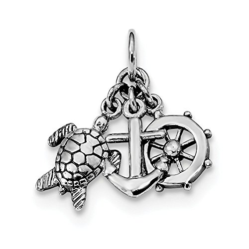 925 Sterling Silver Turtle Nautical Anchor Ship Wheel Mariners Pendant Charm Necklace Sea Life Shore Boating Fine Jewelry For Women Gifts For Her
