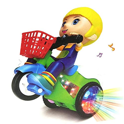 HALO NATION® Funny Stunt Scooter Stunt Tricycle Bump and Go Toy - Stunt Bike with 4D Lights, Dancing Toy, Battery Operated Toy for Toddlers Kids (Stunt Scooter Girl)