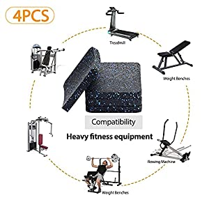 BestXD Treadmill Mat, Exercise Equipment Mat with High Density Rubber (3.94 X 3.94 X 0.5 inch) (4pcs)