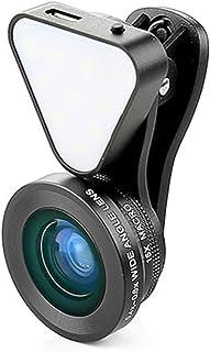 LIEQI スマホ用カメラレンズ 1台3役 0.4-0.6×広角レンズ 15×マクロレンズ 10ライト LQ-035 ブラック