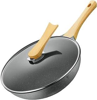 Yuzhijie Poêle wok anti-adhésive 30 cm en pierre médicale sans fumée grasse à induction cuisinière à gaz universelle