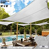 TANG Sun Shades Depot 10' x 10' Square Waterproof Knitted Shade Sail Curved Edge Light Gray/Light Grey 260 GSM UV Block Shade Fabric Pergola Carport Canopy Replacement Awning Customize Available