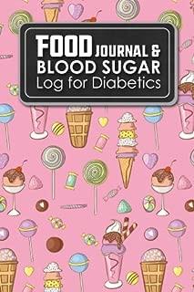 Food Journal & Blood Sugar Log for Diabetics: Diabetic Food Log Book, Daily Blood Glucose Testing Log Sheet, Diabetic Log Books, Cute Ice Cream & Lollipop Cover (Volume 30)