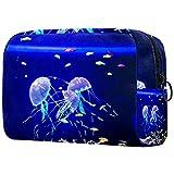 Bolsa de cosméticos Bolsa de Maquillaje Impermeable para Mujer para Viajar para Llevar cosméticos, Cambiar Llaves, etc.Acuario con Medusa Azul