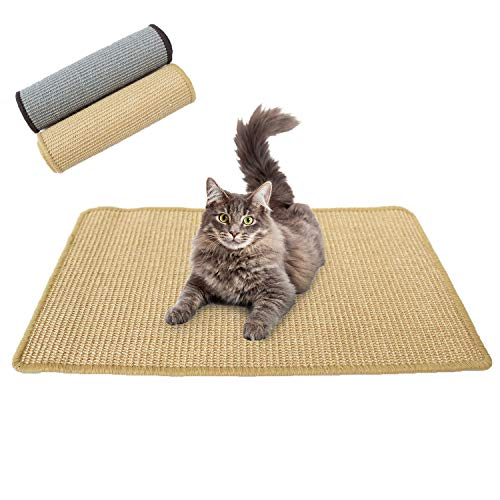 Downtown Pet Supply Natural Cat Scratching Mat with Premium Sisal Exerciser Mat Toy for Kitty with Non Slip Backing Oatmeal Small