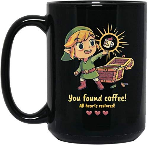 ZELDA YOU FOUND COFFEE ALL HEARTS RESTORED 15 oz Black Mug MUGREEVA MUG