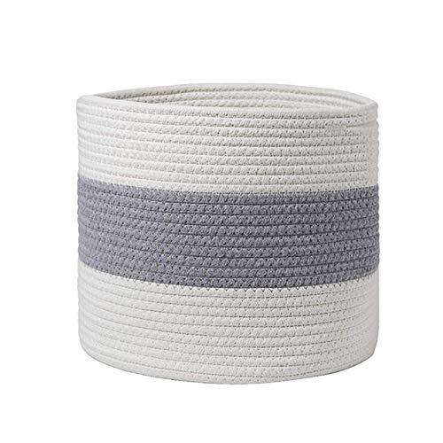 Meiyum Cesta de cuerda de algodón tejida natural, cesta para la ropa sucia del bebé, organizador de juguetes, contenedores de almacenamiento para el hogar, 28 cm x 28 cm, color blanco y gris