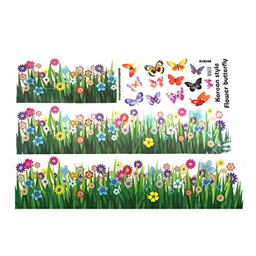 Papillon Herbe fleur Stickers Muraux Salon Decal amovibles Posters Autocollant DIY imperméable Bricolage Decal Art Mural Maison