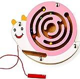 Gobus Mini Bead Maze Colorido de Madera Mini Animales Forma bolígrafo Cuentas de conducción Laberinto Regalo de Juguete Educativo para niños (Snail Caracol Rosado)