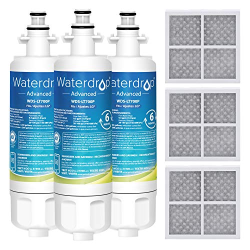 Waterdrop LT700P NSF 53&42 Certified Refrigerator Water Filter and Air Filter, Compatible with LG LT700P, ADQ36006101, ADQ36006102 and LT120F, Advanced, 3 Combo