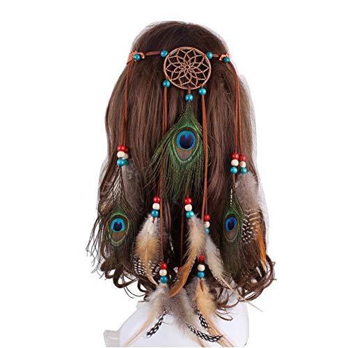 1 Diadema Ajustable de Plumas Indias de Caqui, para Mujeres y niñas, con Borla, Cuerda de cáñamo, Bohemio, Cadena para la Cabeza, Accesorios de Estilo para Viajes festóvalos