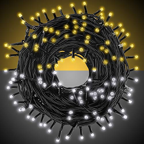 Dual Color LED String Light2-in-1 Cool &Warm White, Music Sync Color Changing LED Fairy Lightwith Remote& Timer, 33ft 100 LEDPlug in String Lights 9Modes Waterproof for Outdoor ChristmasParty