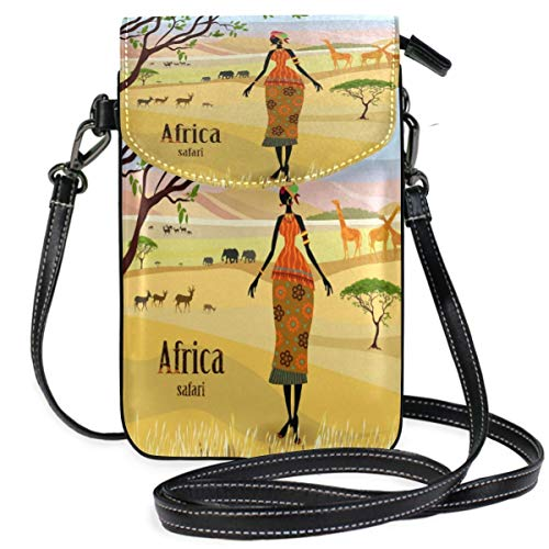 XCNGG African Women In Mountain Landscape Cell Phone Purse Wallet for Women Girl Small Crossbody Purse Bags
